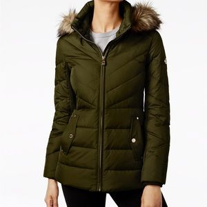 NWT Michael Kohrs Dark Moss Faux Fur Puffer Coat